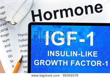 Papers with hormones list and tablet  with words  Insulin-like growth factor-1 (IGF-1). Medical concept. poster