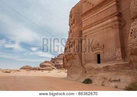 Nabatean tomb in Madain Saleh archeological site Saudi Arabia. poster