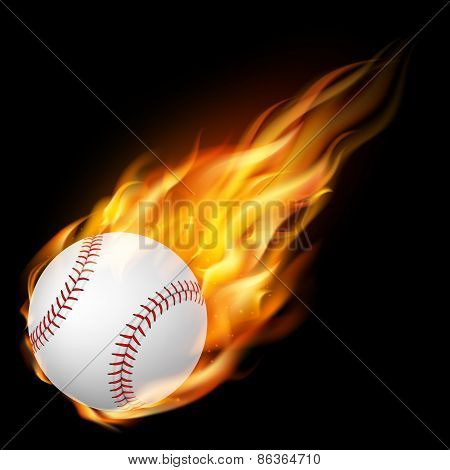 Flying baseballl on fire - falling down