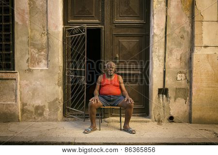 Havana - February 17: Unkown Man Staying On Front Of His House On February 17, 2015 In Havana. Hav