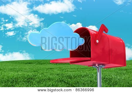 Red email postbox against field and sky poster