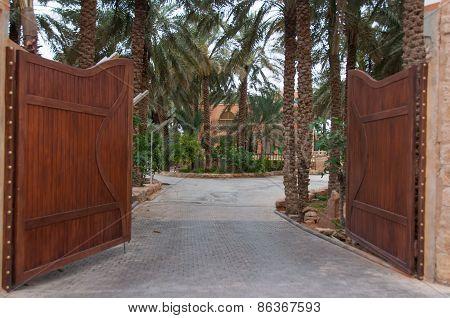 Big entrance palissade and fortification in Riyadh Saudi Arabia. poster