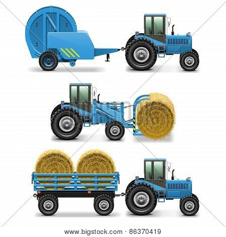 Vector Agricultural Tractor Set 5