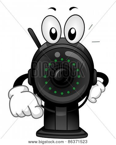 Mascot Illustration of a Surveillance Camera Pointing His Finger Towards the Screen