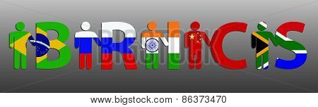 BRICS. Peoples and letters in the colors of the flag