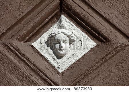 MILTENBERG, GERMANY - 20 JULY: Detail of decorated facade with adages of an old half timbered house in Miltenberg, Lower Franconia, Bavaria, Germany, on July 20, 2013