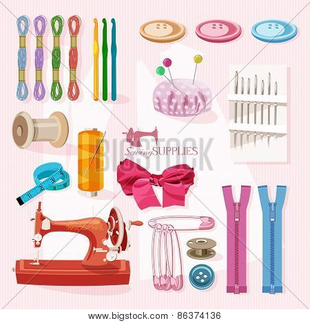 Supplies and accessories for sewing on colorful background. Vector sewing equipment poster