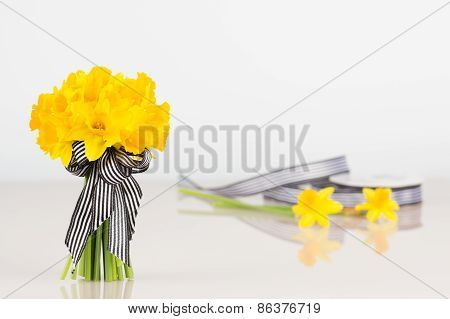 Daffodil Bouquet With Roll Of Ribbon