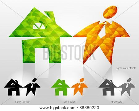 Combination Of Symbols Home And Man