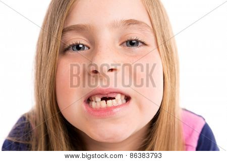 Blond indented girl showing teeth portrait funny expression on white background