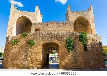 Alcudia Old Town in Majorca Porta des Moll Mallorca Balearic island of Spain
