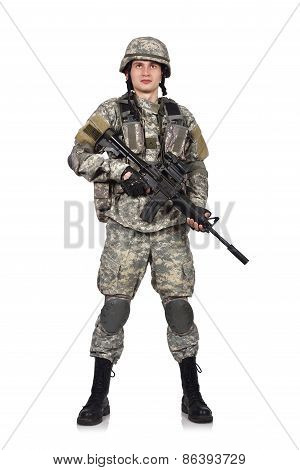 US soldier with his assault rifle on white background poster