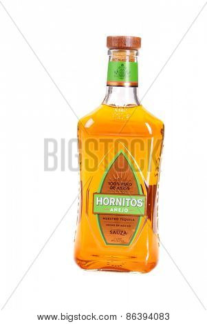 Hayward, CA - March 21, 2015: Bottle of Hornitos 100% Agave tequila anejo isolated on white - illustrative editorial