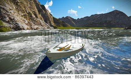 Sinking boat off the shore