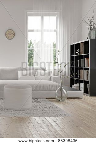 Corner of a comfortable white modern living room with an upholstered sofa and ottoman on a wood floor and bookcase full of books alongside a tall window.  3d Rendering