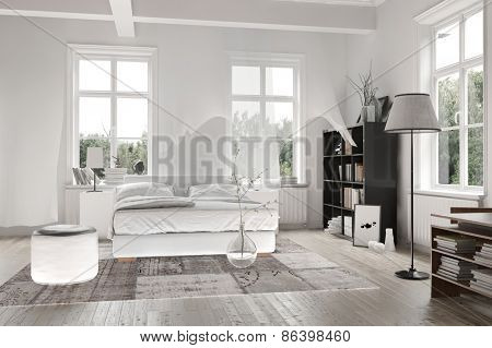 Bright light white spacious monochromatic bedroom interior with ceiling beams and a double bed with rug on a wooden floor surrounded by cottage pane windows. 3d Rendering