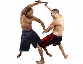Two muscular martial artists demonstrating the Filipino Martial Art Kali Escrima or Arnis.  They are sparring with fighting sticks or batons on white background poster