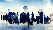 Business People Silhouette Working Cityscape Teamwork Talking Discussion poster