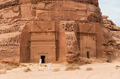 Nabatean tombs in Madaîn Saleh archeological site Saudi Arabia. poster
