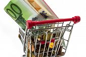 many money European coins and banknotes in the shopping cart poster