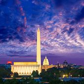 Washington DC skyline with Monument Capitol and Abraham Lincoln memorial sunrise poster