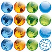 Sixteen colored globes showing earth with all continents. poster
