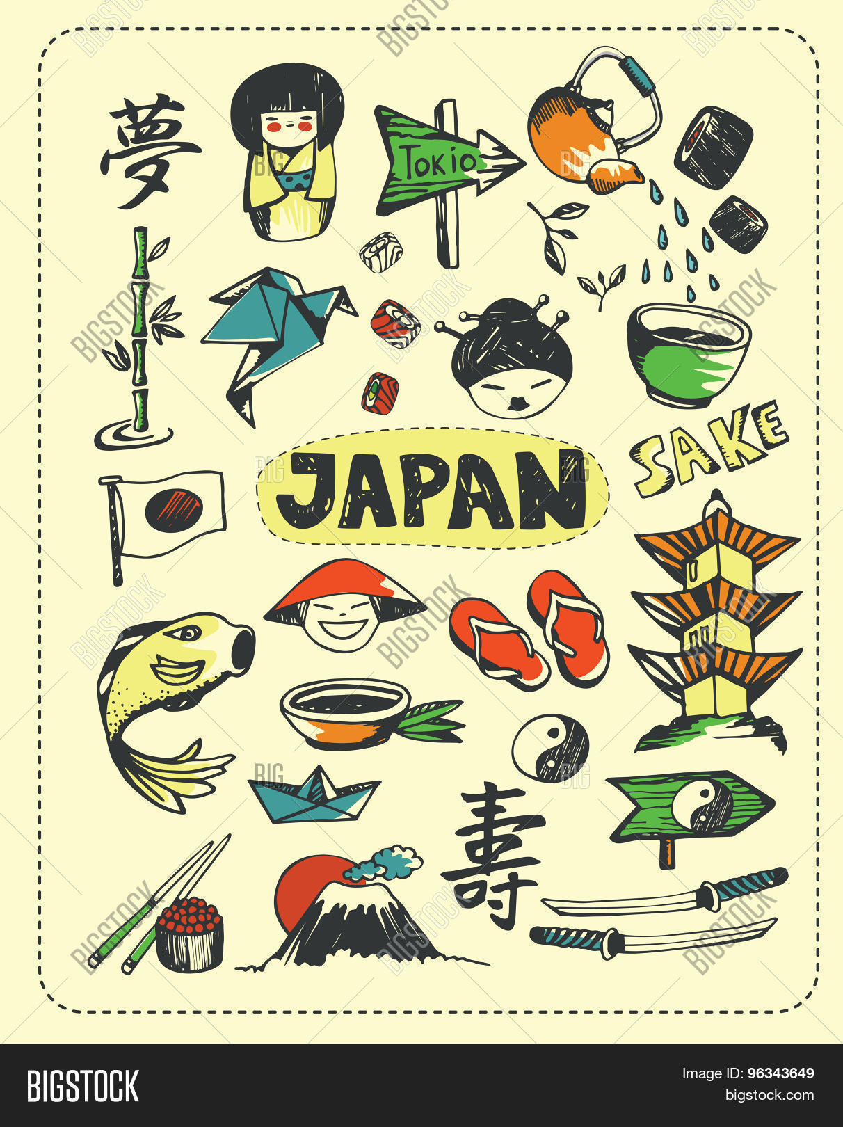 Sketch Of Japan Tradition Object Collection Of Japan Culture Objects Handdrawn Japan Il Ration Japan Pa A Traditional Elements Of Japan Culture
