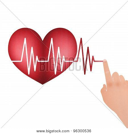 Vital Signs In The Heart With Drag Hand To Line