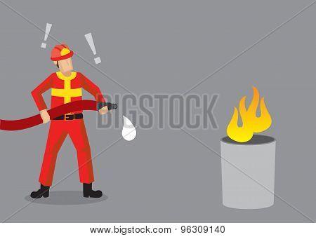Firefighter Epic Fail Cartoon Vector Illustration