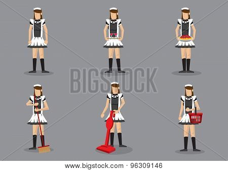 French Maid Vector Character Set