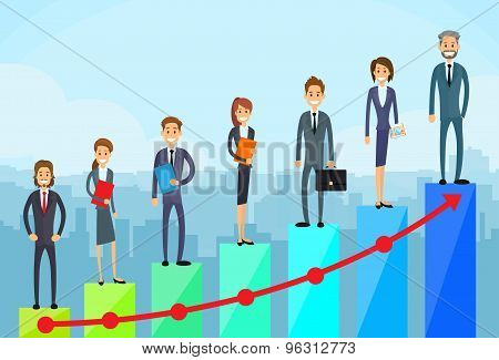 Business People Standing Financial Bar Graph