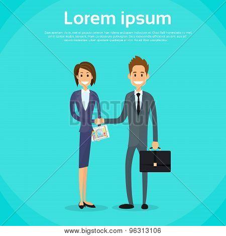 Business People Handshake, Businessman Businesswoman Hand Shake