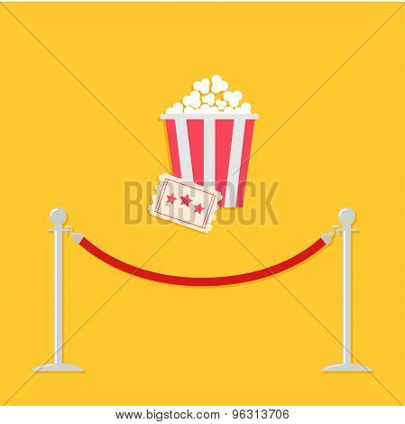 Red Rope Barrier Stanchions Turnstile Big Popcorn And Ticket. Cinema Icon In Flat Design Style.