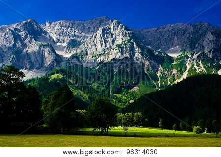 The countryside around the town of Ramsau am Dachstein.