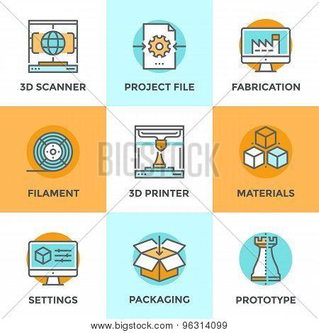 3D Printing Line Icons Set
