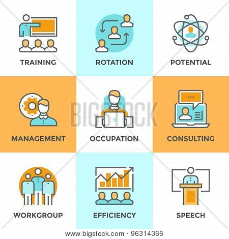 Corporate Management Line Icons Set