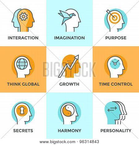 Human Brain Function Line Icons Set