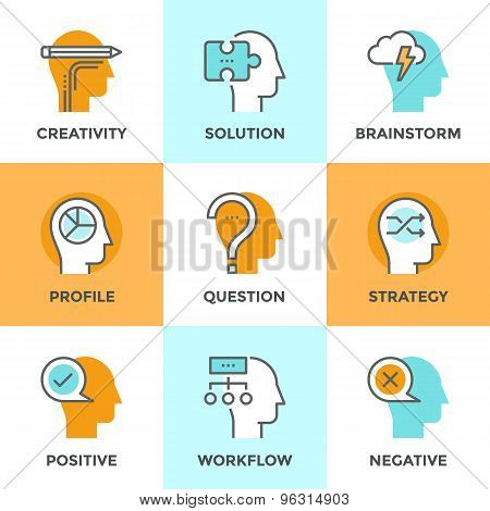 Human Brain Process Line Icons Set