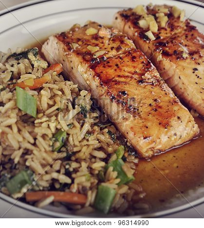 Salmon Fillets with Orange Sauce and Rice with Mushrooms