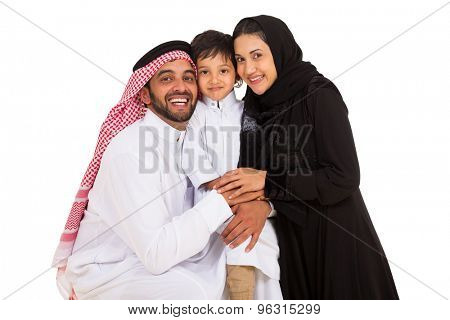 cheerful young arabian family looking at the camera