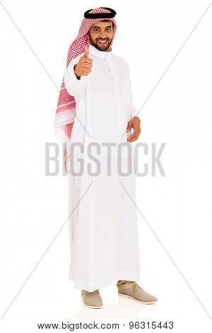 happy young muslim man giving thumb up on white background