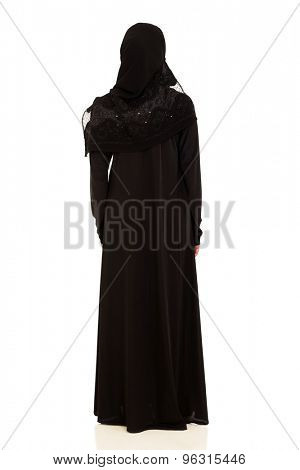 rear view of arabian woman isolated on white
