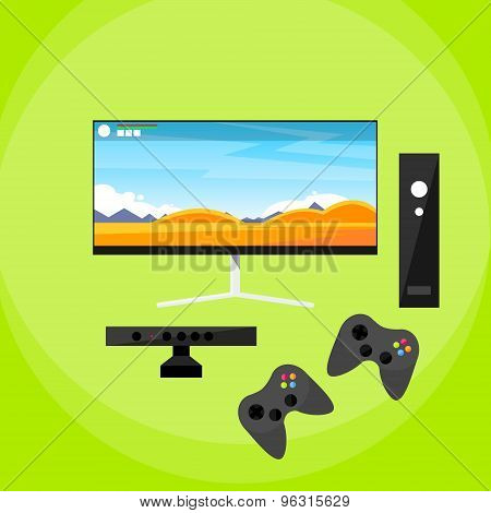 Video Game Console Pad Play Controller Flat Vector