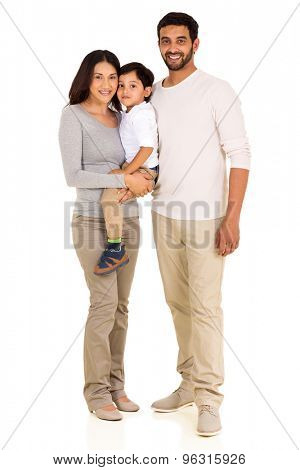 full length portrait of happy young indian family isolated on white