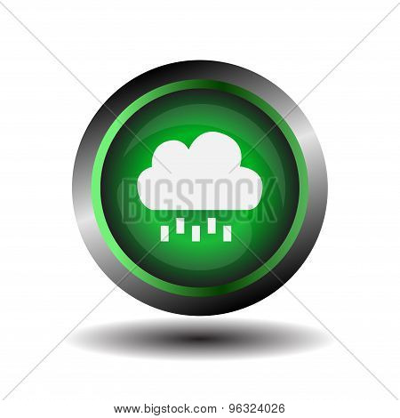 Green glossy button Cloud and rain sign vector