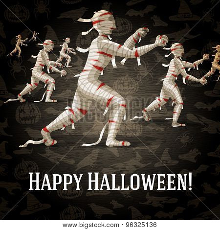 Happy halloween greeting card with walking mummies fading to the perspective. Vector