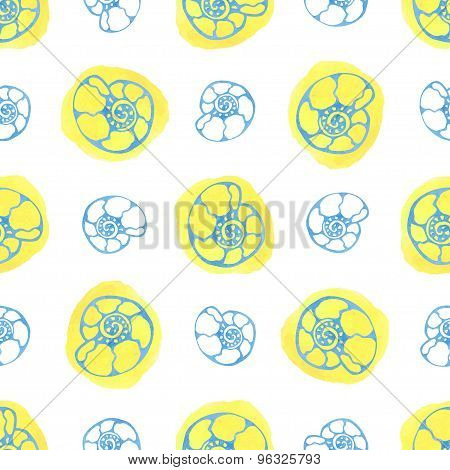 Sea seamless pattern with watercolor shells. Ammonite background. Summer vector