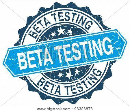 Beta Testing Blue Round Grunge Stamp On White