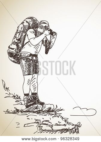 Sketch of photographer backpacker. Vector sketch, Hand drawn illustration