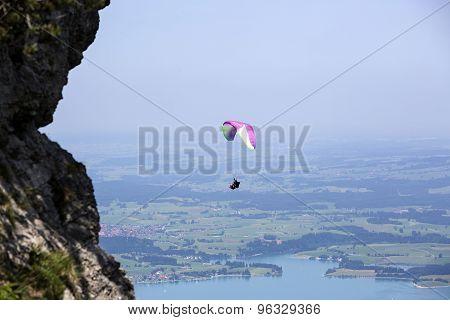 Paraglider Flying Over Bavarian Lake Forggensee